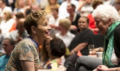 Audience participation is a central feature of Kate Mulvany's performance. Photo by Brett Boardman