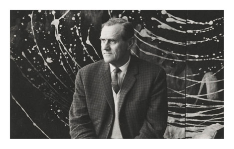 Axel Poignant (1906–1986) Portrait of Patrick White in front of Galaxy  1963 gelatin silver print; 5.7 x 5.7 cm Pictures Collection; PIC P1054 National Library of Australia